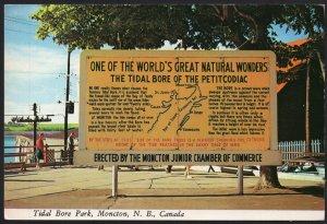 New Brunswick MONCTON Tidal Bore of the Petitcodiac Park Sign - Cont'l