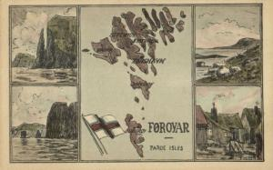 denmark, Faroe Islands, TORSHAVN, Map Postcard, Artist Signed Olsen (1934)