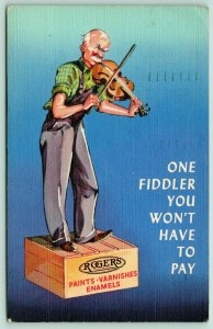 Rowena SD~Harwicks Advertising Rogers Paints: Don't Pay Old Fiddler~1942 Linen
