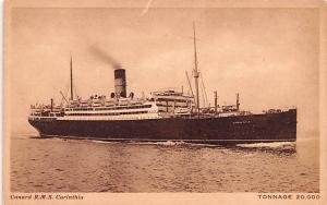 White Star Line Cunard Ship Post Card, Old Vintage Antique Postcard RMS Carin...