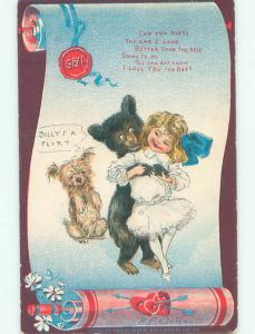 Pre-1907 risque signed R.F. OUTCAULT - HUMANIZED BEAR GRABS GIRL'S BREASTS k6140