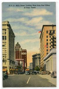 Mills Street Looking West El Paso Texas 1940s linen postcard