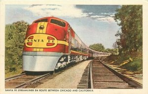 California Chicago 1940s Steamliner Railroad Santa Fe Postcard Train 6033
