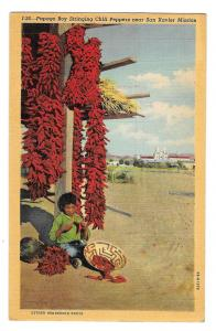 Papago Boy Stringing Chili Peppers AZ San Xavier Mission Vintage Linen Postcard