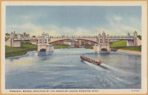 Manistee, Mich., Big old Wooden boat passing under the Memorial Bridge - 1938