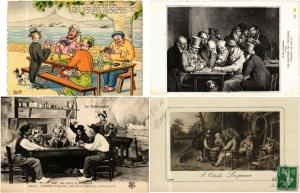 PLAYING CARDS, JEUX CARTES GAMES 28 CPA Vintage postcards pre-1940
