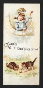 VICTORIAN TRADE CARD Clark's Mile-End Thread Cats Playing