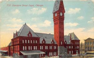 Chicago Illinois~Deerborn Street Depot~Tall Clock Tower~1911 Postcard
