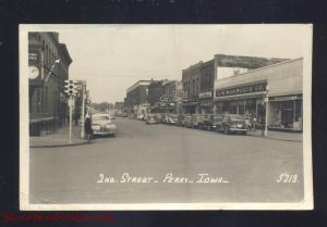 RPPC PERRY IOWA DOWNTOWN SECOND STREET SCENE 1950's CARS REAL PHOTO POSTCARD