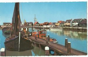 Netherlands, Marken, boats docking in harbor, 1967 used