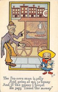 Bishop~Hot Buttered Popcorn Man With Wagon~Needs the Penny~Poem~AH 1910 PC