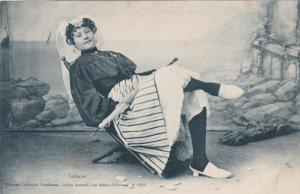 French woman sitting in chair holding umbrella, Sablaise, 00-10s