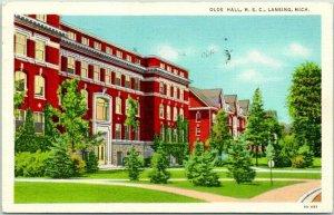 1935 MICHIGAN STATE UNIVERSITY Postcard OLDS HALL, M.S.C. Curteich Linen