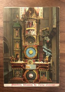 Early Astronomical Clock Die Cut Mechanical Dial Foreign Postcard