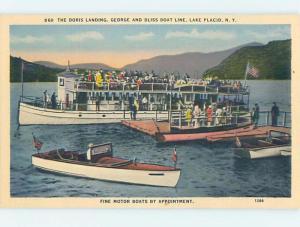 Linen Postcard Ad GEORGE BOAT LINE RENTALS Adirondacks - Lake Placid NY hp6616
