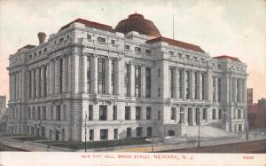 New City Hall, Broad Street, Newark, New Jersey, Early Postcard, Used in 1908