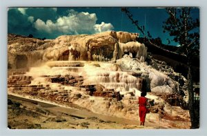 Yellowstone WY- Wyoming, Minerva Terrace, Mammoth, Chrome c1966Postcard