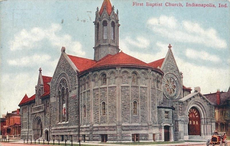 Indianapolis~First Baptist Church~Vintage Car~1910 Postcard