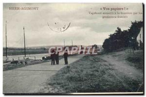 Postcard Old Customs Customs Customs heer Agimont Vagabond greeted at the border