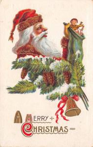 Christmas Vignette~Santa in Pine Cone Branch Holds Up Stocking~Tassel Hat~Emboss