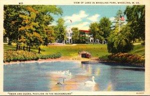 West Virginia Wheeling View Of Lake In Wheeling Park Curteich