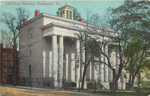 Richmond Virginia~Old Italianate Davis Mansion~Huge Round Columns~1910 Postcard