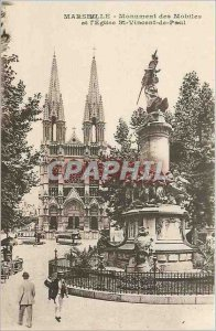 Old Postcard Marseille Monument mobile and the Church of St. Vincent de Paul