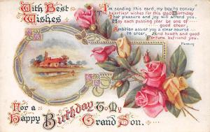 With Best Wishes, for Happy Birthday to my Grand Son, roses, bouquet
