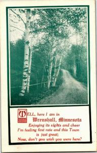 Here I am in Wrenshall Minnesota Birches c1912 Vintage Postcard O18