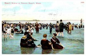 871   MA  Revere Beach  Bathers at beach in water