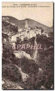 Old Postcard Luceram Entree The Village and The Ravine Excursion Peira Cava