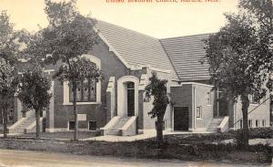 Aurora Nebraska~Twin Arch Entrances to the United Brethren Church c1910 Postcard