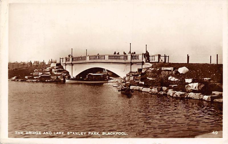 The Bridge and Lake, Stanley Park, Blackpool, Pont, Bruecke 1930