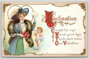 Victorian Valentine~Inclination Caught Her~Lovely Lady~Fur Stole~Cupid~H Wessler