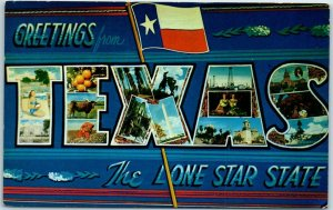 1950s TEXAS Large Letter Postcard The Lone Star State w/ Flag - Chrome Unused