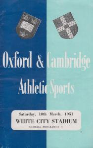 Cambridge & Oxford 1951 Sports Day Javelin Long Jump Athletics Rare Programme