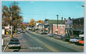 Postcard NH Colebrook Main Street Shopping District Bowling Texaco Old Cars L19