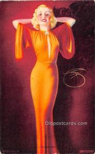Lady in Red 1945 Mutoscope Artist Pin Up Girl, Non Postcard Backing Unused