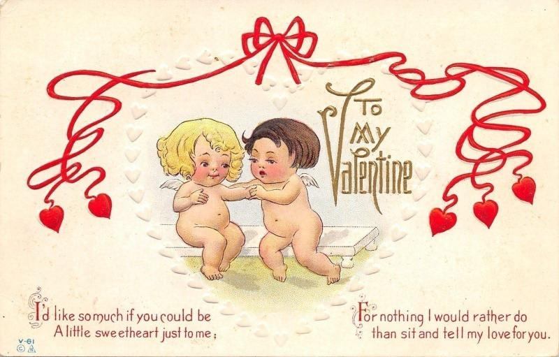 Valentine~Naked Cupid Babies in White Embossed Heart~Red Ribbons~Nash V-61~1908
