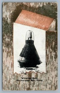 NEWBURYPORT BAR MA WHISTLING BUOY LIGHTHOUSE 1907 ANTIQUE POSTCARD