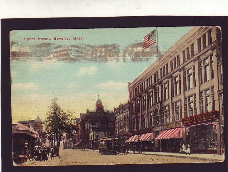 P1654 1912 used postcard trolly woolworth 5 & 10c store cabot st. beverly mass