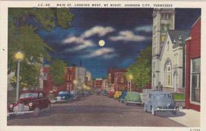 Tennessee Johnson City Main StreetLooking West By Night