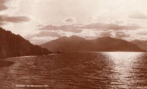 Ballachulish Scotland Scottish Vintage Sunset Night View Antique Postcard