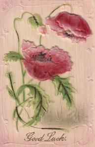 Embossed, Good Luck!, pink flowers, 00-10s