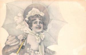 Fancy Glamour Lady Umbrella, Suesse Maedel, Filles douces, Postcard Postkarte