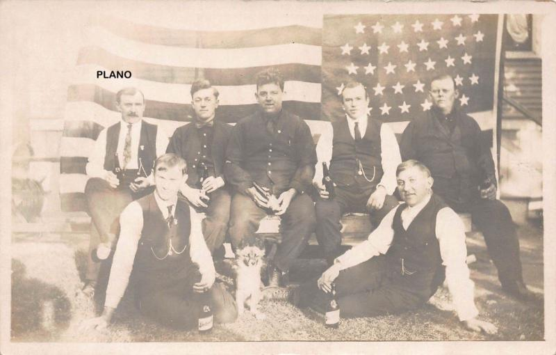 PATRIOTIC BEER DRINKERS-EARLY 1900'S RPPC REAL PHOTO POSTCARD