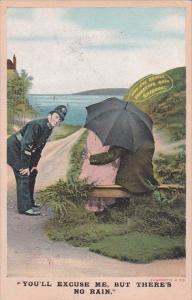 Bamforth No 1072 Policeman Watching Couple Under Umbrella You'll Excuse Me Bu...