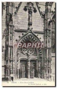 Postcard Old Tours Notre Dame la Riche Lateral Portal