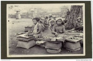 indonesia, BALI, Native NUDE Street Seller Girls (1920s) Real Photo