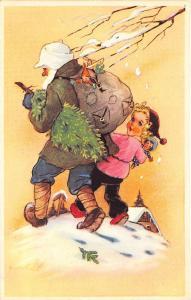 Christmas Santa Claus Purple Robed Hiking Girl w/Doll Postcard